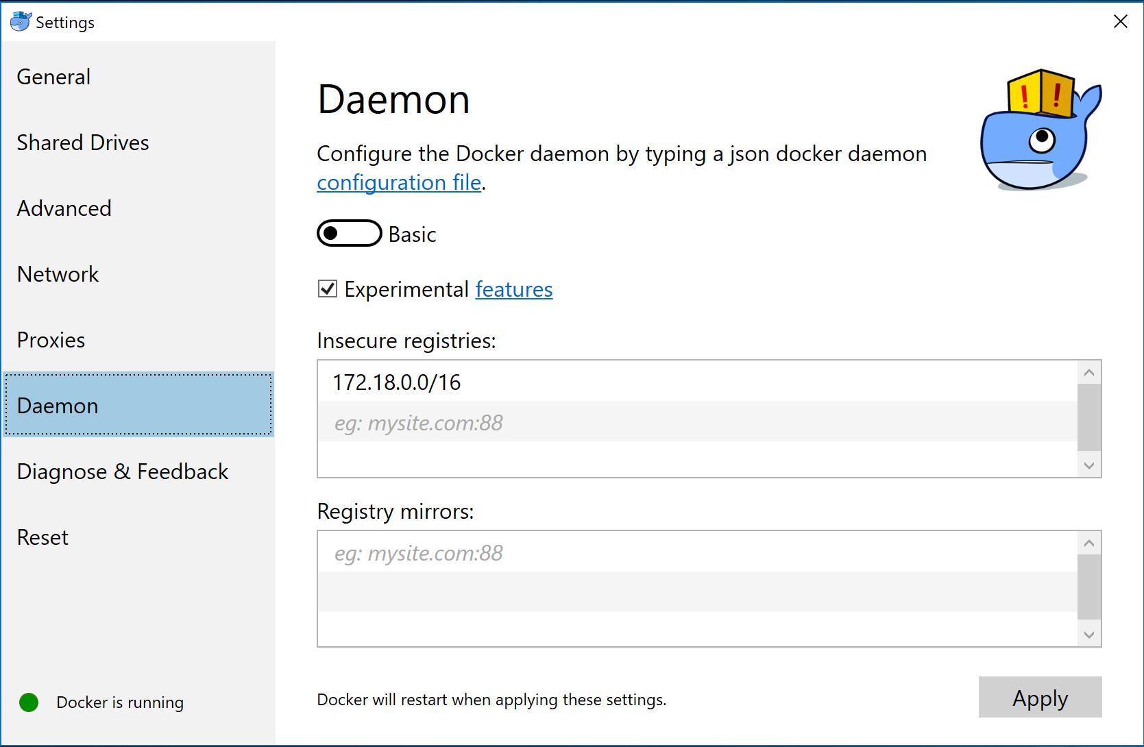 unsecure registry setting (docker for windows)